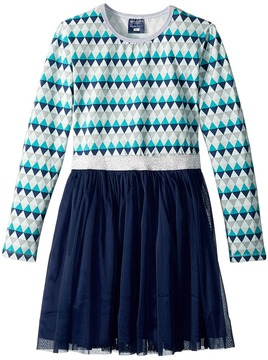 Toobydoo Blue Geo Tulle Dress Girl's Dress