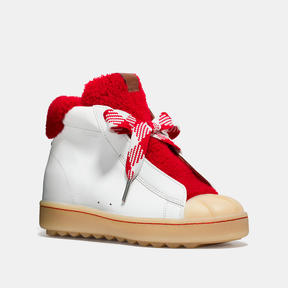 COACH HIGH TOP HIKER WITH SHEARLING - WHITE