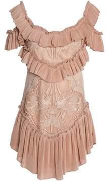 Alice McCall Lovebirds Cold-Shoulder Plissé-Paneled Crocheted Mini Dress