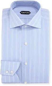 Tom Ford Wide Track-Stripe Cotton Dress Shirt, Blue