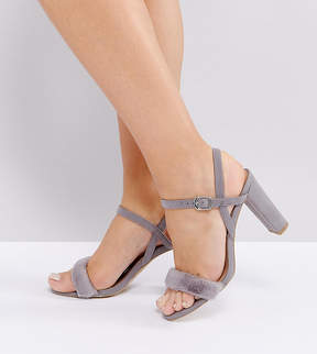 New Look Wide Fit 2-Part Fluffy Vamp Heeled Sandals