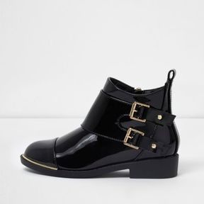 River Island Girls black double buckle flat ankle boots