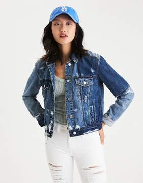 American Eagle Outfitters AE Destroyed Two-Tone Denim Jacket