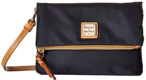 Dooney & Bourke Miramar Fold-Over Zip Crossbody Cross Body Handbags - NAVY/BTRSCTCH TRIM - STYLE