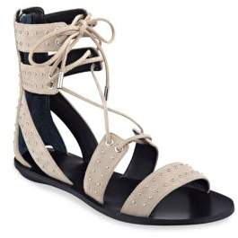 KENDALL + KYLIE Fabia Studded Suede Lace-Up Sandals