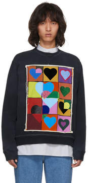 J.W.Anderson Navy Multi Hearts Grid Sweatshirt