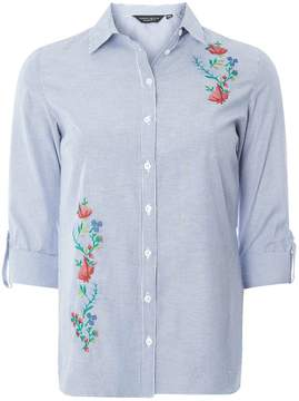 Dorothy Perkins Blue Embroidered Striped Shirt