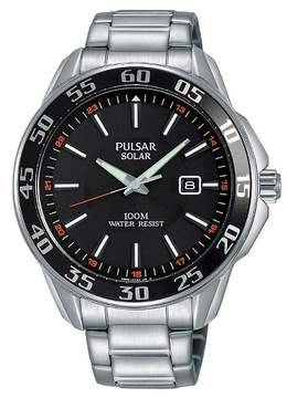 Pulsar Men's Solar - Silver Tone with Black Dial - PX3121