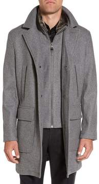 Cole Haan Men's Melton Topcoat With Removable Bib