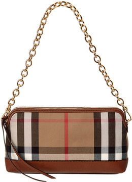 Burberry Abingdon House Check & Leather Clutch Bag - BROWN - STYLE