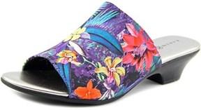 Karen Scott Eveline Open Toe Canvas Slides Sandal.