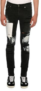 Just Cavalli Slim Distressed-Denim Jeans with Paint-Splattered Detail