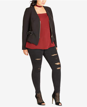 City Chic Trendy Plus Size Buckled Moto Blazer
