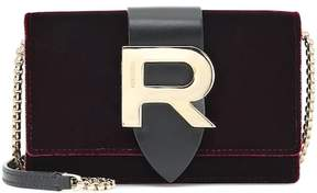 Rochas Velvet and leather shoulder bag