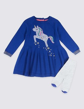 Marks and Spencer Unicorn Sequin Dress with Tights Outfit (3 Months - 6 Years)