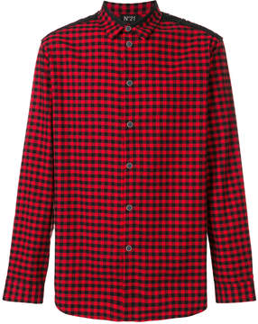 No.21 duo-tone checked shirt