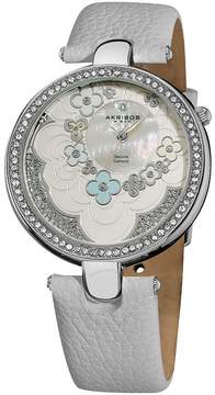 Akribos XXIV Lady Diamond Flower Dial Swiss Quartz Leather Strap Ladies Watch