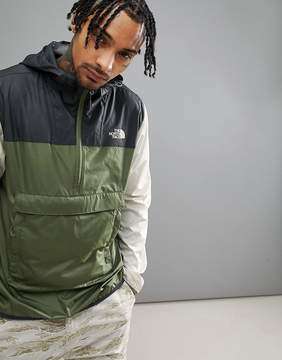 The North Face Fanorak Overhead Jacket Hooded Packable Tricolour In Green/Black/Stone