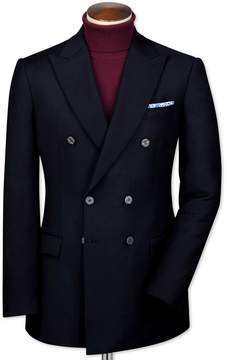 Charles Tyrwhitt Slim Fit Navy Double Breasted Wool Perfect Wool Blazer Size 38