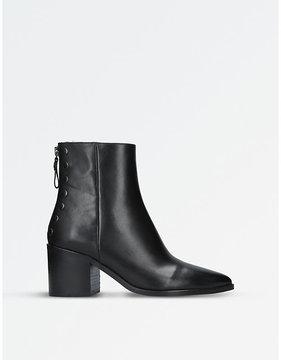 Carvela Ladies Black Slight Stud-Detail Leather Ankle Boots
