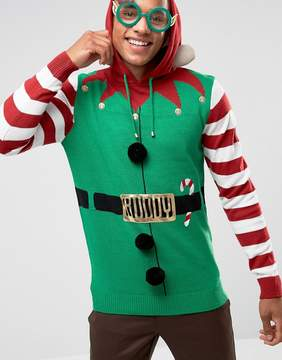 Brave Soul Holidays Hooded Elf Sweater with Bells
