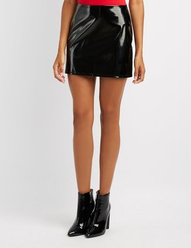 Charlotte Russe Faux Patent Leather Mini Skirt