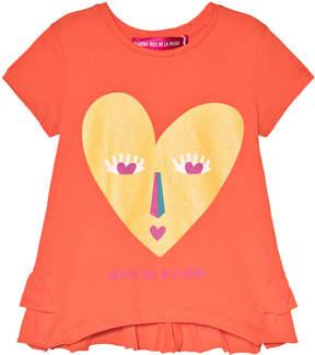 Agatha Ruiz De La Prada Orange Heart Face Print Top