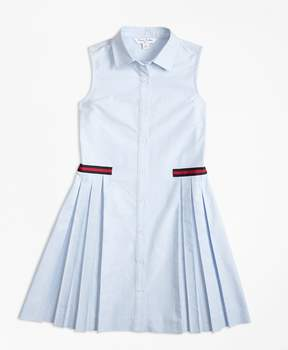 Brooks Brothers Cotton Oxford Pleated Dress