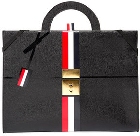 Thom Browne Trompe l'Oeil Slim Leather Attache Case, Black