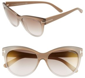 Tom Ford Women's 'Lily' 56Mm Cat Eye Sunglasses - Beige/ Brown Mirror
