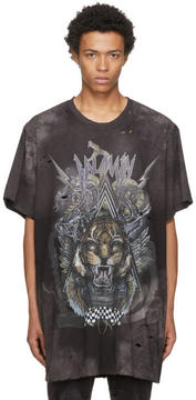 Balmain Black Oversized Destroy Tiger T-Shirt