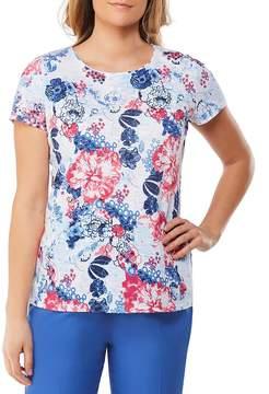 Allison Daley Petites Wide Crew Neck Lace Back Detail Floral Print Tee