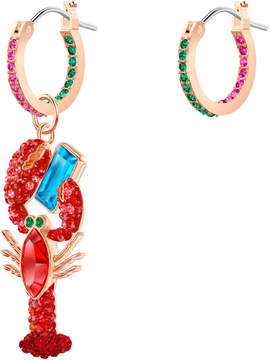 OCEAN LOBSTER PIERCED EARRINGS, MULTI-COLORED, ROSE GOLD PLATING