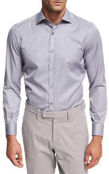 Ermenegildo Zegna Striped Melange Cotton Shirt, Medium Gray