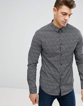 New Look Shirt With Print In Dark Gray