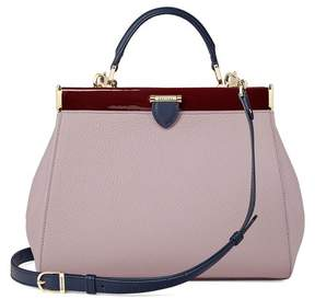 Aspinal of London Small Florence Frame Bag In Lilac Pebble, Smooth Bluemoon Cherry Patent