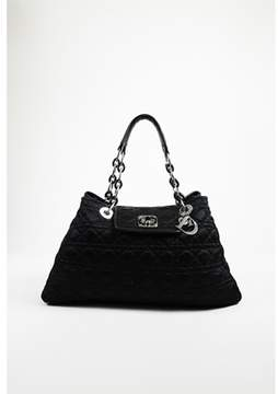 Christian Dior Pre-owned Black Quilted cannage Nylon large Charming Lock Shoulder Bag.