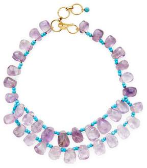 Bounkit Women's Amethyst & Turquoise Station Necklace