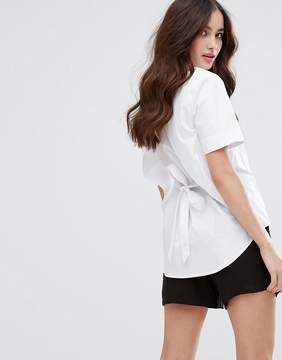 Fashion Union Short Sleeve Shirt With Open Back
