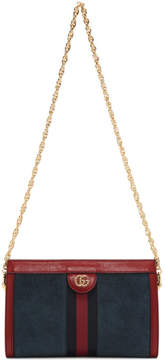 Gucci Blue Small Suede Ophidia Chain Bag