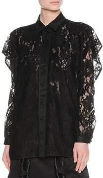 Francesco Scognamiglio Layered Ruffle Lace Shirt, Black