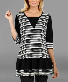 Lily Black & White Ruffle-Hem Half-Sleeve Tunic - Women