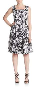 Ellen Tracy Pleated Abstract Floral-Print Stretch Cotton Fit-&-Flare Dress