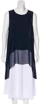 DKNY Silk-Trimmed Sleeveless Tunic