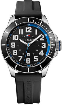 Tommy Hilfiger Men's Black Silicone Strap Watch 48mm 1791070, Created for Macy's
