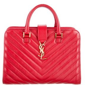Saint Laurent Small Matelassé Cabas Monogram Bag - RED - STYLE