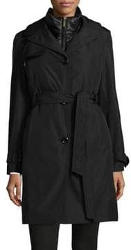 Ellen Tracy Two-Piece Trench Coat and Quilted Vest