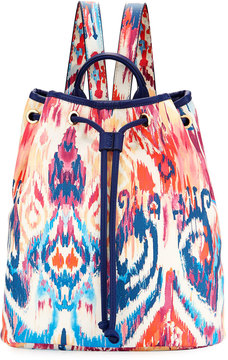 Neiman Marcus Ikat-Print Drawstring Backpack, Navy Pattern