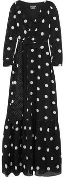 Moschino Polka-dot Silk-chiffon Maxi Dress - Black