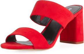 BCBGeneration Bianca Faux-Suede Block-Heel Slide Sandals, Scarlet